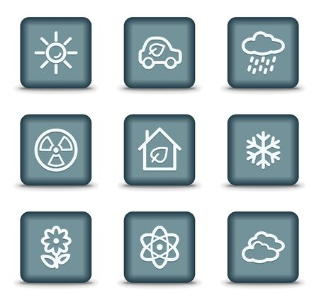 Ecology web icons set 2, grey square buttons Stock Vector - 7550208
