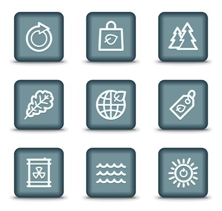 Ecology web icons set 3, grey square buttons Stock Vector - 7550207