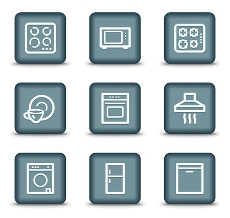 Home appliances web icons, grey square buttons Stock Vector - 7550183