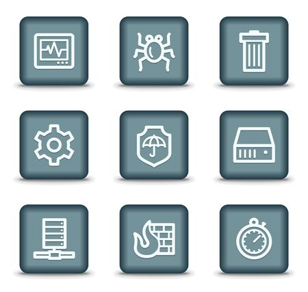 Internet security web icons, grey square buttons Stock Vector - 7550203