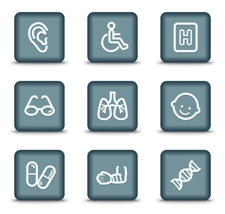 traumatic: Medicine web icons set 2, grey square buttons