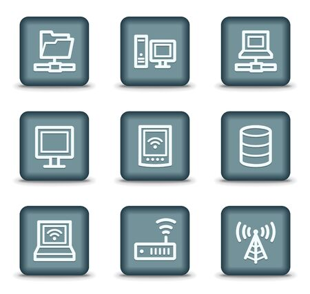 Network web icons, grey square buttons Vector