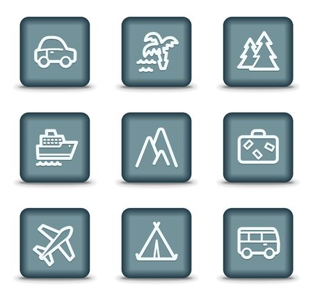 air liner: Travel web icons set 1, grey square buttons Illustration