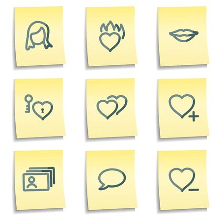 Dating icons, yellow notes series Vector