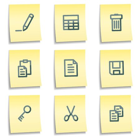 Document icons set 1, yellow notes series Vector