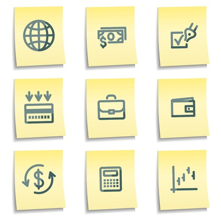 Finance icons, yellow notes series Vector