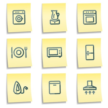 air hole: Home appliances icons, yellow notes series