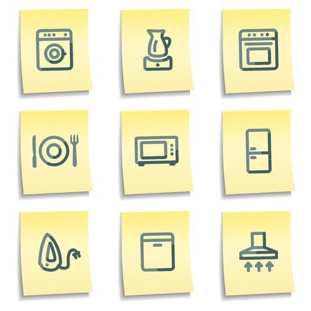 home appliances: Iconos de electrodom�sticos, amarillo toma nota de serie