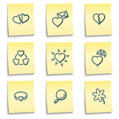Love icons, yellow notes series Vector