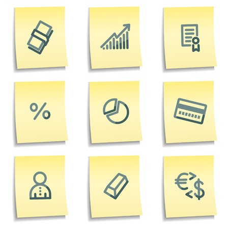Money icons, yellow notes series Stock Vector - 7550219