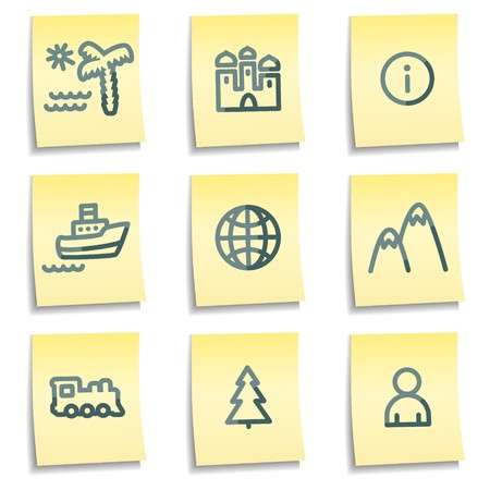 Travel icons set 1, yellow notes series Stock Vector - 7550291