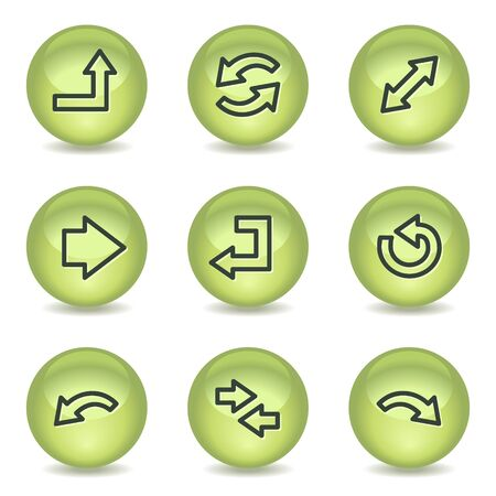 Arrows web icons set 1, green glossy circle buttons Vector