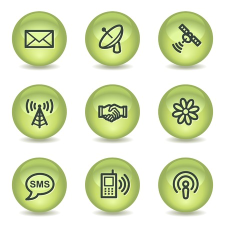 Communication web icons, green glossy circle buttons Vector