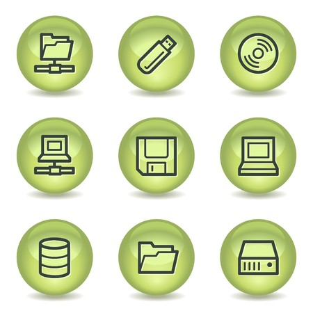 fdd: Drives and storage web icons, green glossy circle buttons Illustration