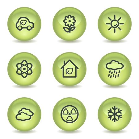 Ecology web icons set 2, green glossy circle buttons Stock Vector - 7550143