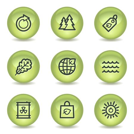 Ecology web icons set 3, green glossy circle buttons Vector