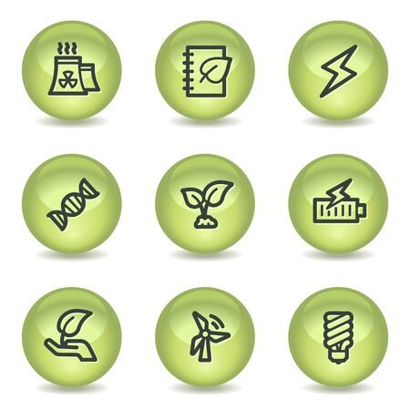 Ecology web icons set 5, green glossy circle buttons Vector