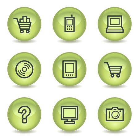 shopping questions: Electronics web icons set 1, green glossy circle buttons Illustration