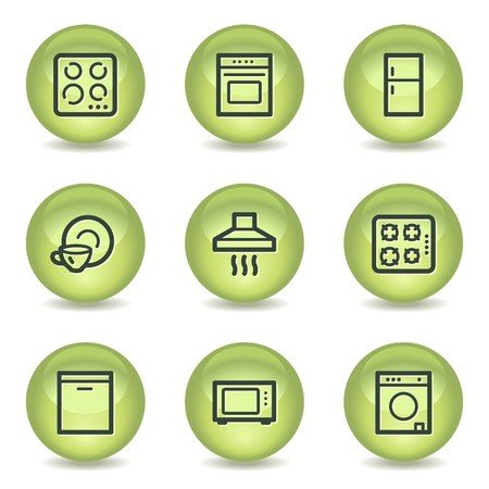 gas laundry: Home appliances web icons, green glossy circle buttons Illustration
