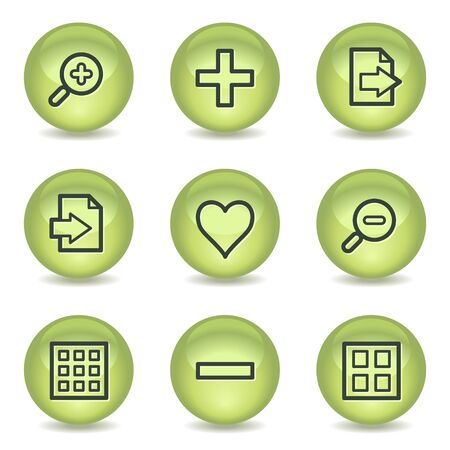 and viewer: Image viewer web icons set 1, green glossy circle buttons