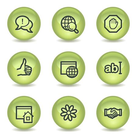 icq: Internet web icons set 1, green glossy circle buttons