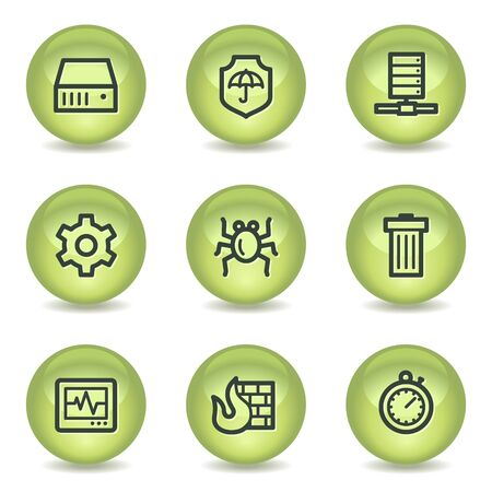 Internet security web icons, green glossy circle buttons Vector