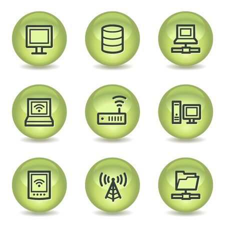 nettop: Network web icons , green glossy circle buttons