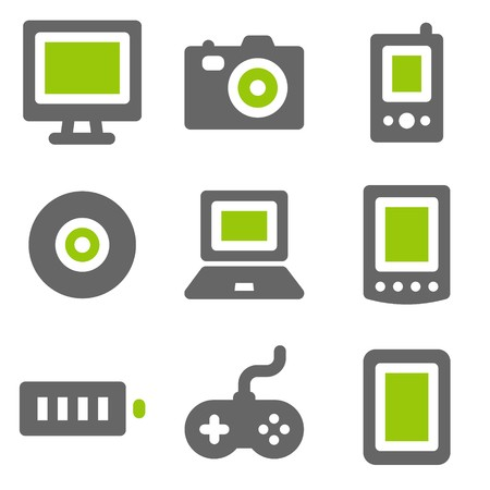 photo icons: Electronics web icons, green grey solid icons