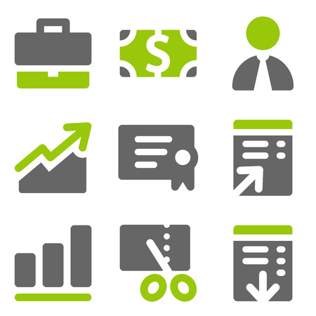 Finance web icons set 1, green grey solid icons Vector