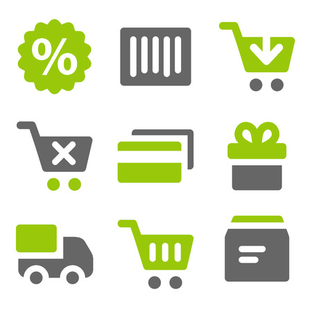 add button: On-line shopping web icons, green grey solid icons