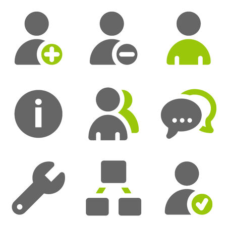 Social network users web icons, green grey solid icons Vector