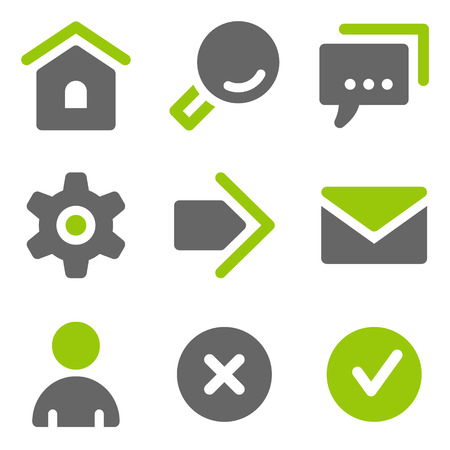 Basic web icons, green grey solid icons Vector