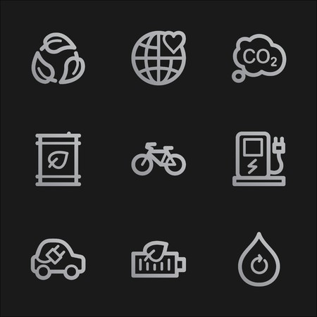 electro world: Ecology web icons set 4, grey mobile style