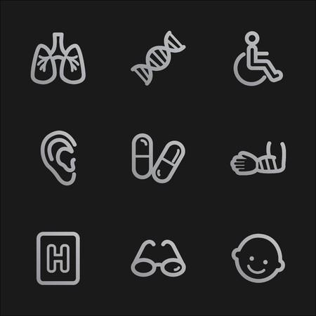 Medicine web icons set 2, grey mobile style photo