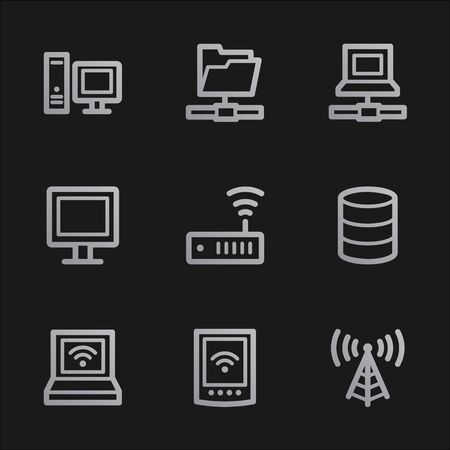 Network web icons , grey mobile style Stock Photo - 7750067