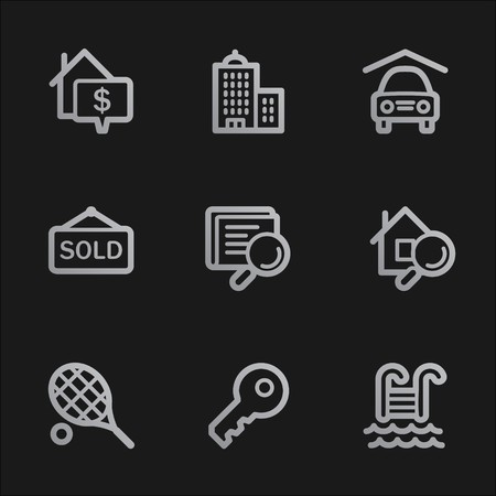 Real estate web icons, grey mobile style Stock Photo - 7750050