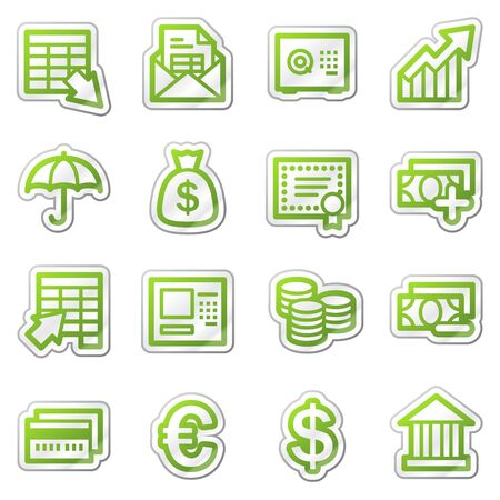 deposite: Banking web icons, green sticker series Stock Photo