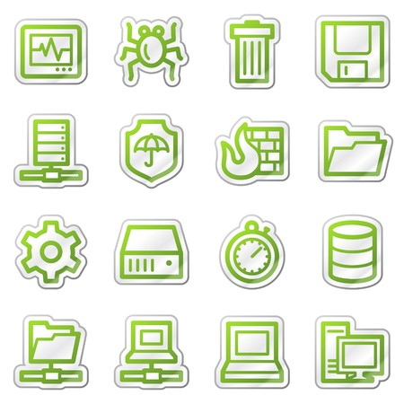 Data security web icons, green sticker series Stock Photo - 7749995