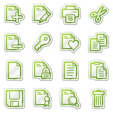 Document web icons, green contour sticker series Фото со стока