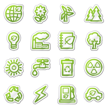 Ecology web icons set 1, green sticker series Stock Photo - 7749967