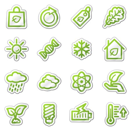 Ecology web icons set 3, green sticker series