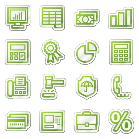 Finance web icons set 1, green sticker series photo