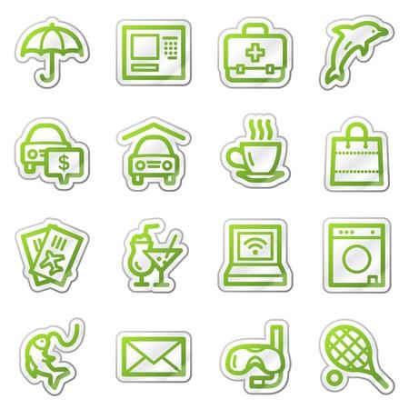 Hotel service web icons, green sticker series photo
