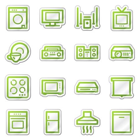 lavavajillas: Electrodom�sticos web serie de adhesivo de iconos, verde