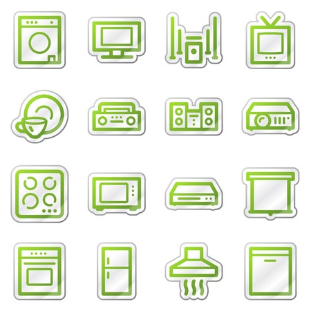 dishwasher: Household appliances web icons, green sticker series Stock Photo