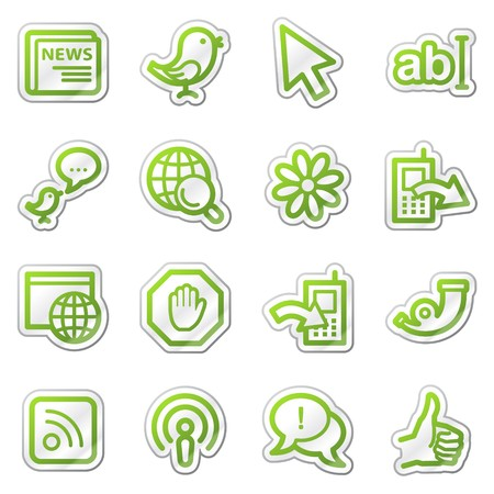 icq: Internet web icons, green contour sticker series Stock Photo