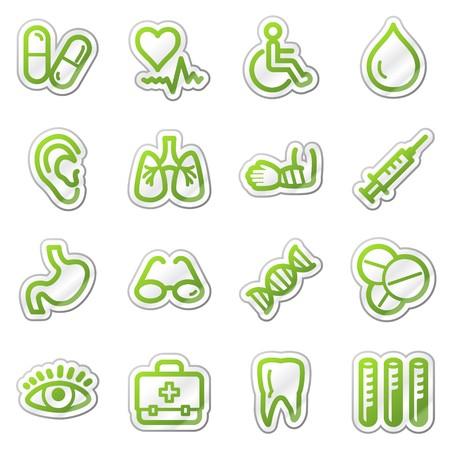 Medicine web icons, green sticker series photo