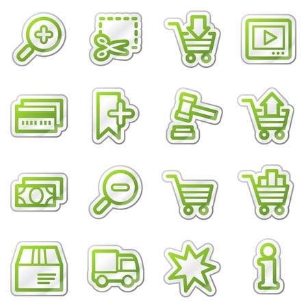 On-line shopping web icons, green sticker series photo