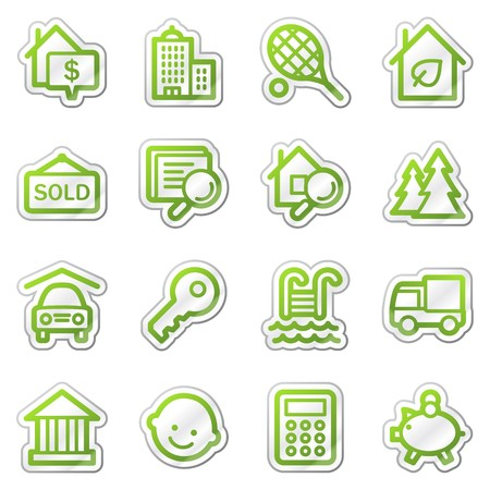 resettlement: Real estate web icons, green sticker series Stock Photo