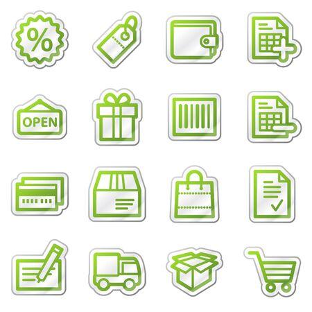 Shopping web icons, green contour sticker series Stock Photo - 7749991